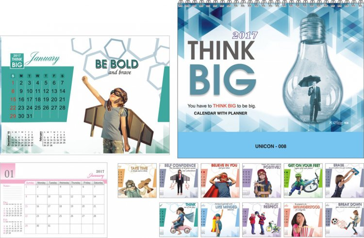 TC 008 Think Big Corporate Table Calendar 2017 - Click Image to Close