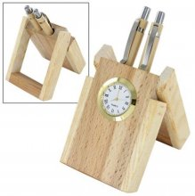 1202 NYD WOODEN PEN STAND WITH WATCH (with Two Pens)