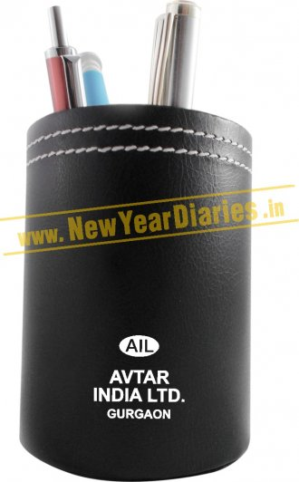 1250 NYD LEATHER TUMBLER BLACK -White Stitiching #Black-PenStand