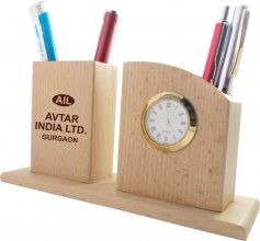 1204 NYD WOODEN PEN STAND WITH WATCH (Wide)