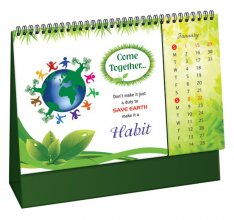 Go Green Crystal Table Calendar 2019 #premium-desktop-calendar
