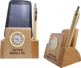 1203 NYD WOODEN MOBILE & PEN STAND WITH WATCH