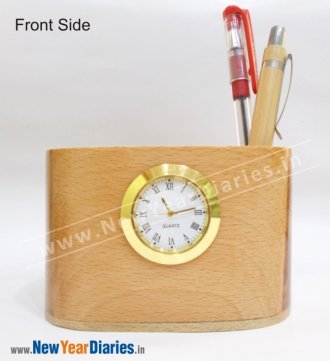 1207 A NYD WOODEN PEN STAND With Watch #wooden-mobile-stand