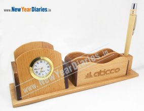1206 NYD WOODEN MOBILE STAND WITH WATCH (Wide)
