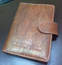 E - Logo Embossing Printing on Leather Cover
