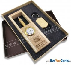 1270 Wooden Pen Stand with Key Ring Gift-Set #wooden-gift-set