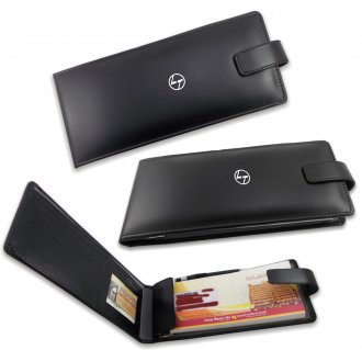 KM 21 Cheque Book Holder in Black Leather Cover (Smoothy)