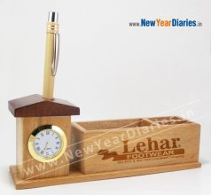 1207 NYD WOODEN PEN STAND With Watch #wooden-mobile-stand