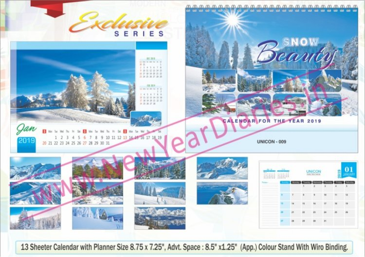 TC 009 Snow Mountains Table Calendar 2019 - Click Image to Close